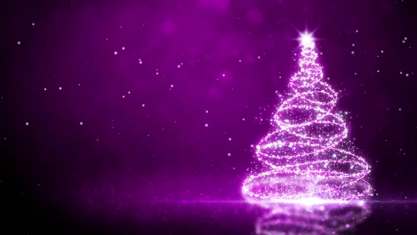 Christmas Tree With Falling Snow Loop Animation Stock