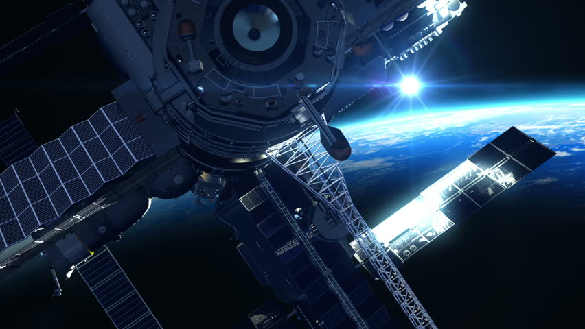 Flight Of Space Station On The Background Of The Sun. 3D Animation.