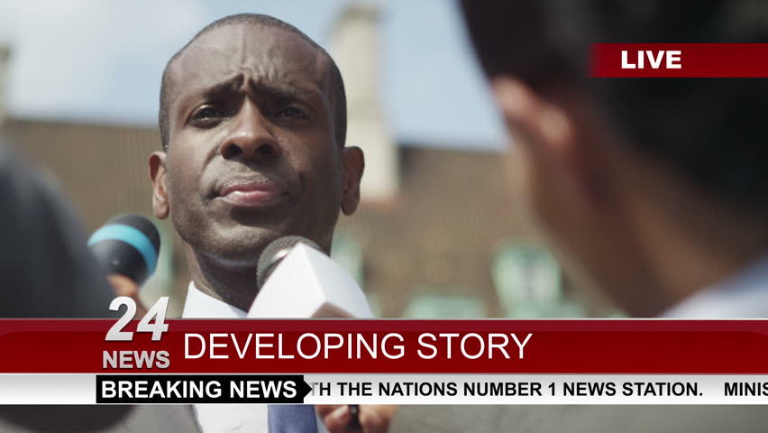 4k Businessman or politician giving live interview to news reporters outside in the city. Shot on RED Epic.