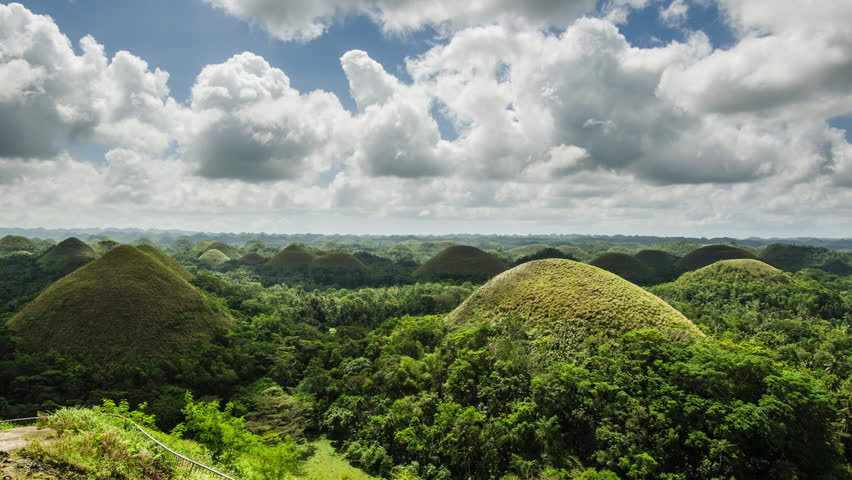 Chocolate hills 4k timelapse with beautiful cloudy sky on Bohol island in Philippines