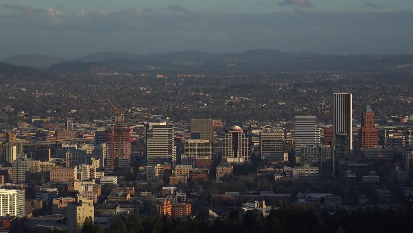 PORTLAND, OREGON - CIRCA 2015 - High angle view over the city of Portland, Oregon. - 4K stock footage clip
