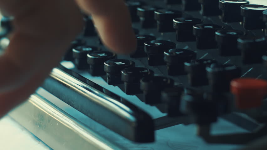 Creative typewriter shots in many different style, colors, mood, B&W. Beautiful close-ups, beautiful retro style shots - HD stock footage clip