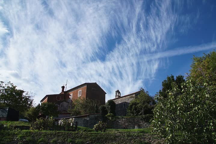 Old villa in Croatia Istria, Clouds passing by,