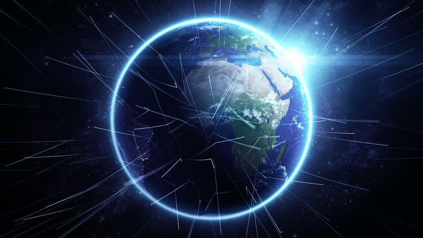 Animation rotation of glowing globe of earth with view from space and flare of light. Technologic background with lines of data transfering or routes of rockets. Animation of seamless loop. - HD stock video clip