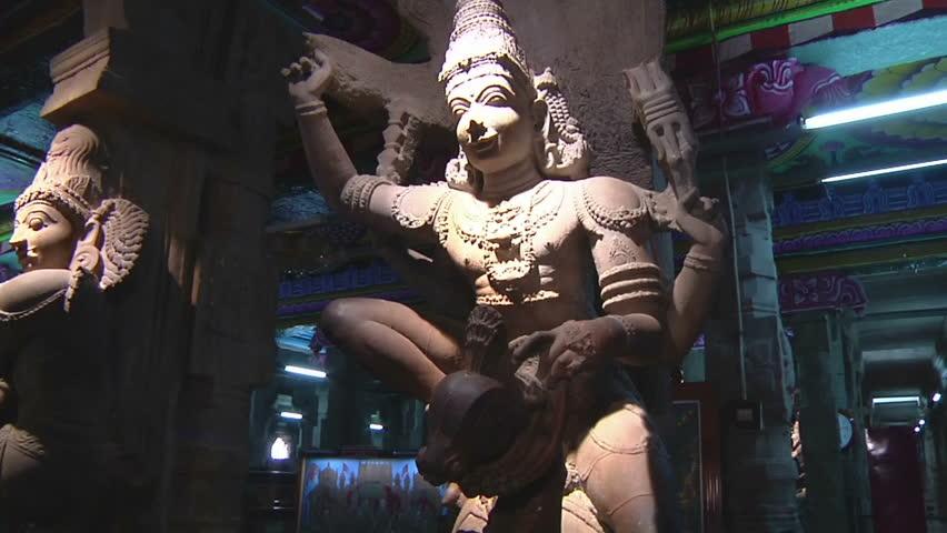 MUDARAI, INDIA  SEP 23, 2011: Sculptures Inside Meenakshi Temple - HD stock video clip