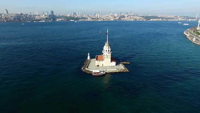 Aerial view of Maiden Tower Istanbul - Turkey - HD stock footage clip