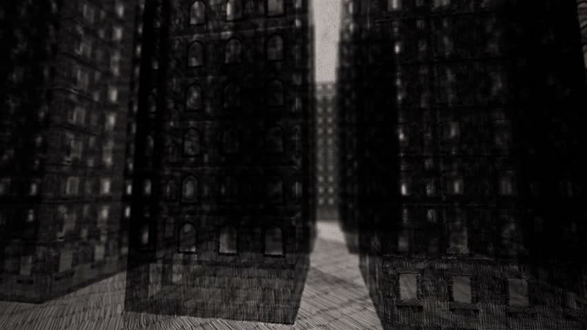 Turns among the skyscrapers, going up the sky - Rotoscoping technique animation