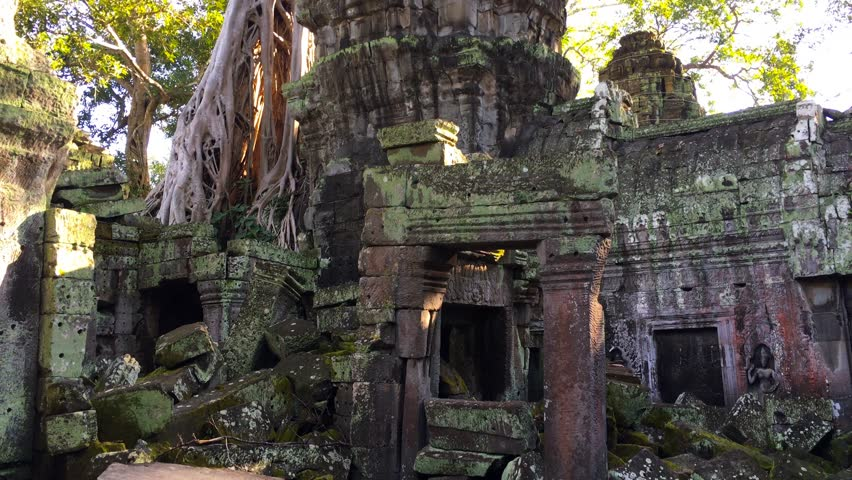 4K UHD video of Ta Prohm (Rajavihara) in Angkor, Siem Reap, Cambodia