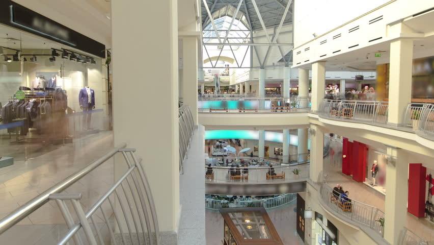 Shopping centre with atrium inside interior on Zemlyanoy Val street, Sadovoye ring in Moscow timelapse hyperlapse fisheye 4K