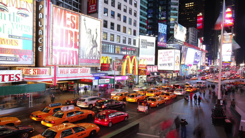 Cinemagraph -  New York City, NY - November 24, 2008: Time lapse shot of Times Square traffic. Looping Motion Photo.