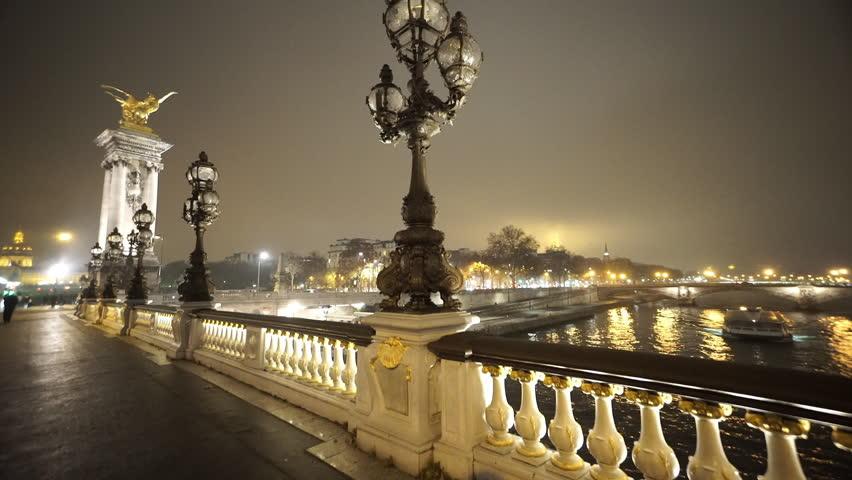 Beautiful bridge over River Seine called Pont Alexandre III   Shutterstock HD Video #13119056