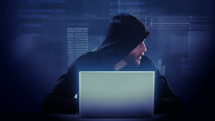 Composite Video Of Hacker Using Laptop With Data On ...