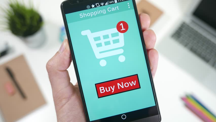 Pressing the Buy Now button to shop and pay a online store on smarrtphone. - 4K stock video clip