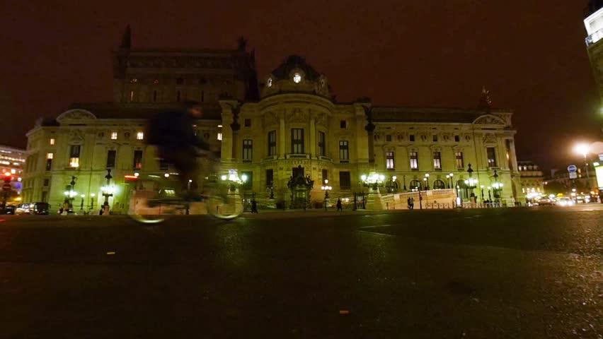 Paris, France - October, 2015 - Palais Garnier Opera House at night.