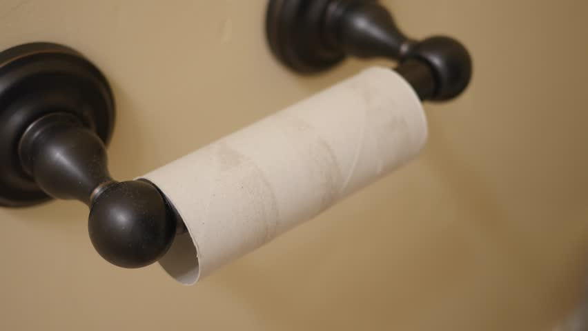 A man's hand replaces the empty toilet paper roll with a new one in the restroom