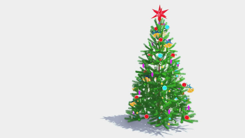 Rotating Christmas Tree Over White Background, Alpha