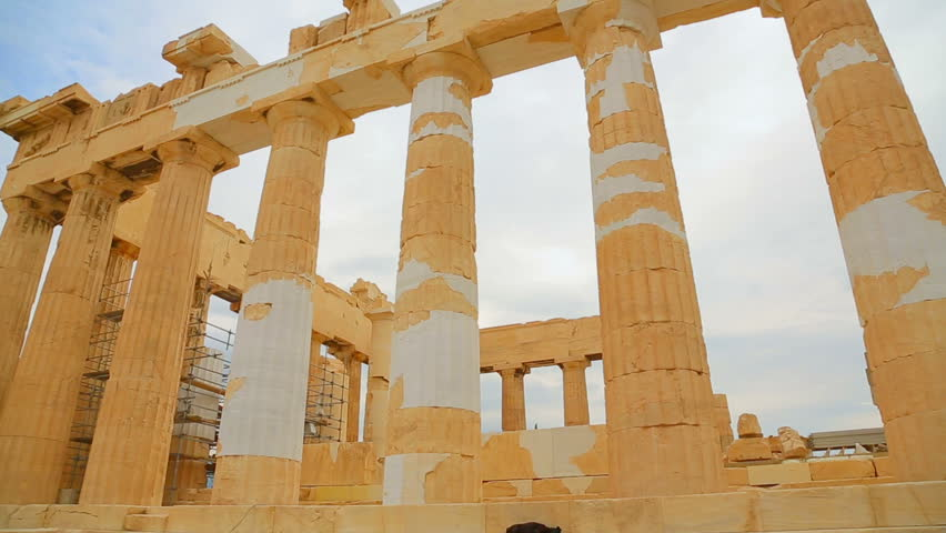 huge marble columns of parthenon temple in athens