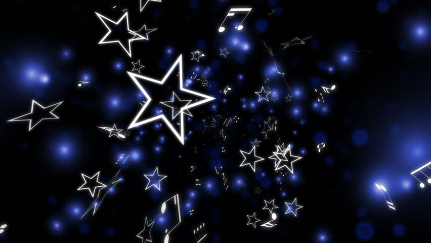 Looping Blue Music Notes And Stars Animated Background ...