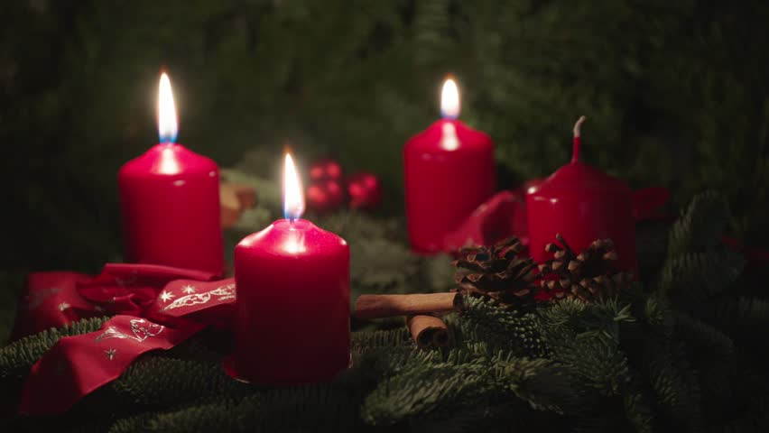 Advent wreath, christmas wreath, two candles burning