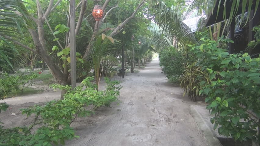 Mabul footpath next to the house for rest between dives. - HD stock video clip