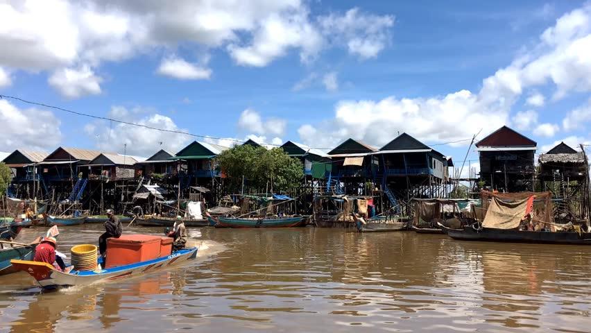 Cambodia - Nov 10: 4K UHD hyperlapse of floating village Kompong Phluk, Siem Reap, Cambodia. November 10, 2015