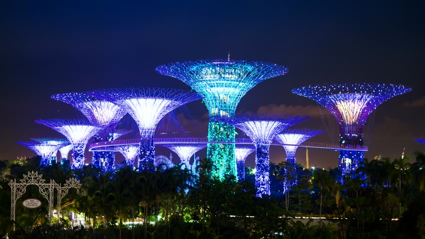 Singapore - Nov 13: 4k UHD time-lapse of amazing view of futuristic illumination at Garden by the Bay park.. November 13, 2015