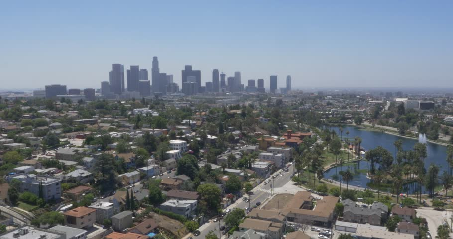 Aerial Shot of Echo Park in Los Angeles, California ( Los Angeles- July 2015) | Shutterstock HD Video #13356089