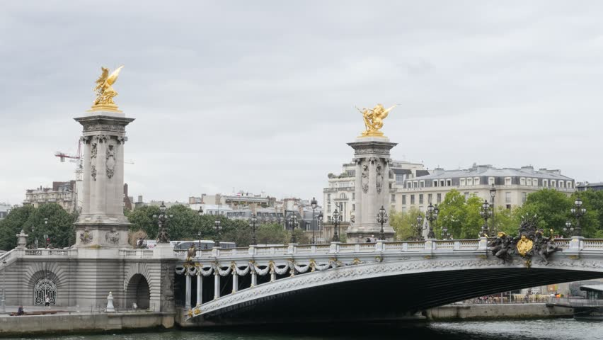 Paris and France Alexander III bridge golden statues tilt 4K 2160p UltraHD tilt footage - Paris and French sight by the day slow tilting on bridge details 4K 3840X2160 30fps UHD video - 4K stock footage clip