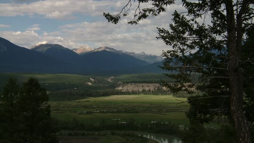 Bugaboo mountain valley zoom from wide - HD stock footage clip