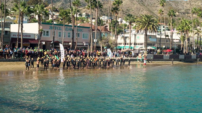November 7th, 2015, Avalon, Catalina Island, California USA. Catalina Island Triathlon  - 4K stock video clip
