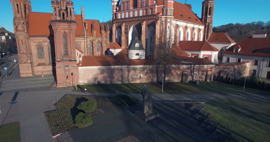 AERIAL. Smooth flight up Church of St. Anne (Onos), Vilnius, Lithuania