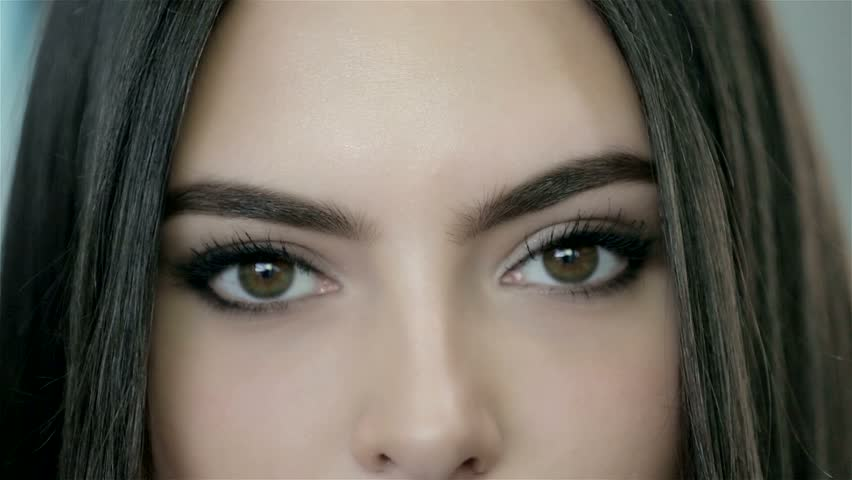 Close-up of sexy playful eyes, and seductive red lips | Shutterstock HD Video #13476455