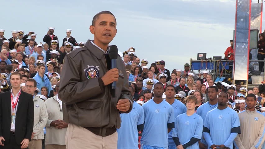 CIRCA 2010s - Barack Obama speaks to a group on an aircraft carrier about bringing Osama Bin Laden to justice.