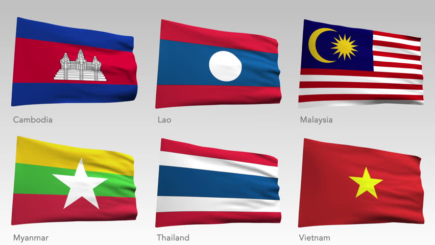 Animated flags of Asia with alpha channel, Cambodia, Lao, Malaysia, Myanmar, Thailand, Vietnam - HD stock footage clip