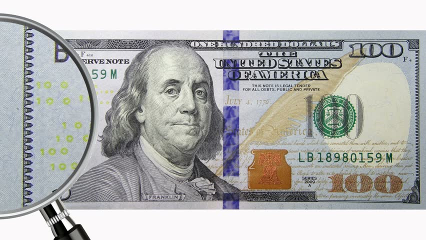 zoom in on a new 100 dollars bill stock footage video