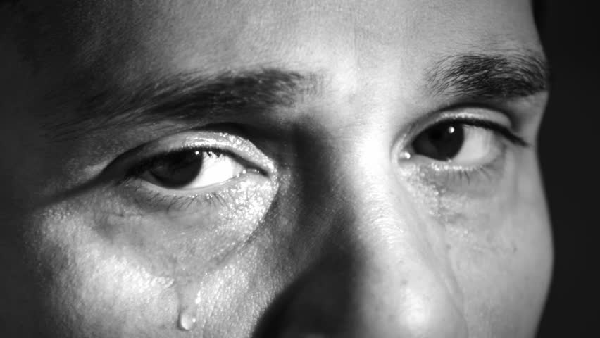 Crying Man With Tears In Eyes, Closeup Black And White