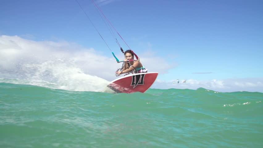 Woman Kite Surfing In Ocean, Extreme Summer Sport   | Shutterstock HD Video #13595687