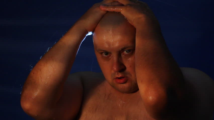 Despairing man and rain  - HD stock footage clip