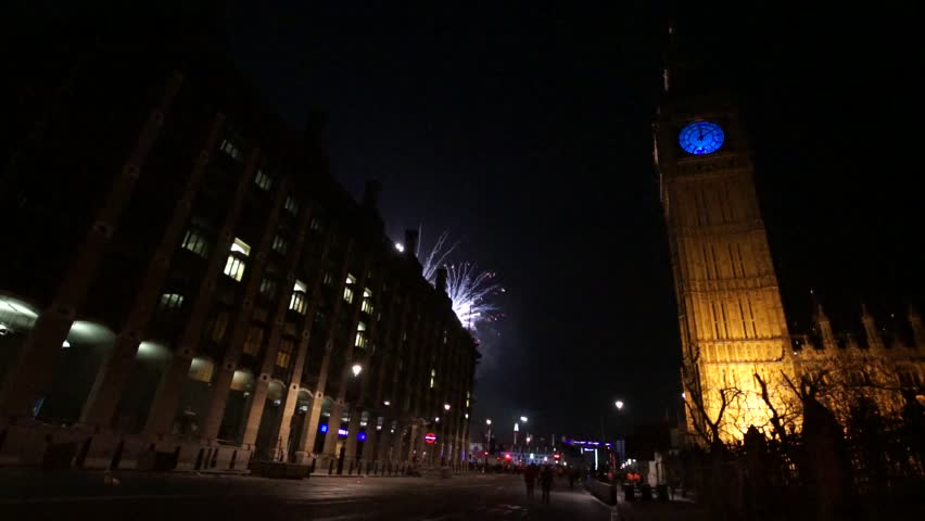 LONDON - DEC 31 : Fireworks over Big Ben at midnight, Dec 31, 2015, London, UK. This spectacular event takes place on the River Thames, celebrations were ticketed for first time from last year, 2014.