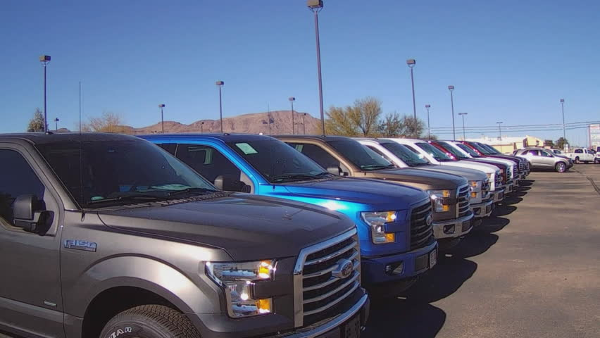 Auto Dealership For Sale Arizona: December 29, 2015: A Row Of New Pickup