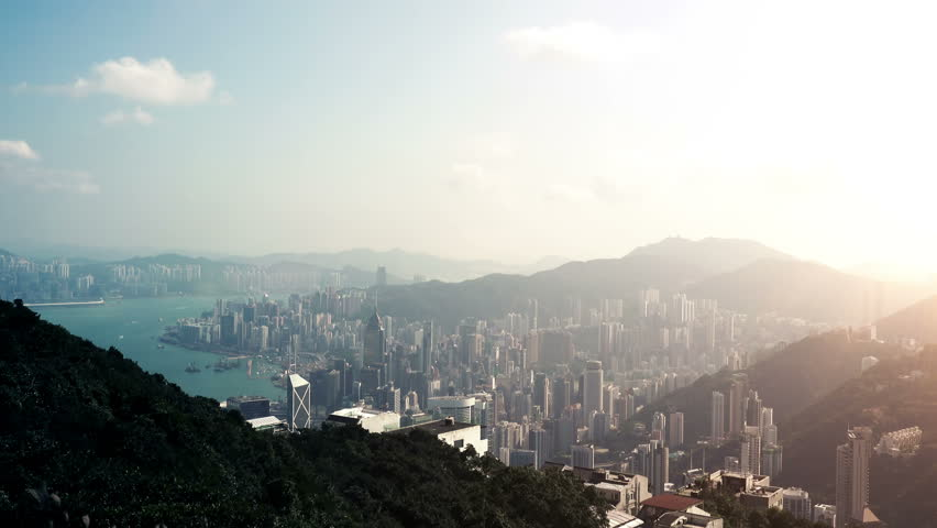 4K Aerial Timelapse of Hong Kong from the Mountaint Peak. 4K Ultra HD 3840x2160 Video Clip