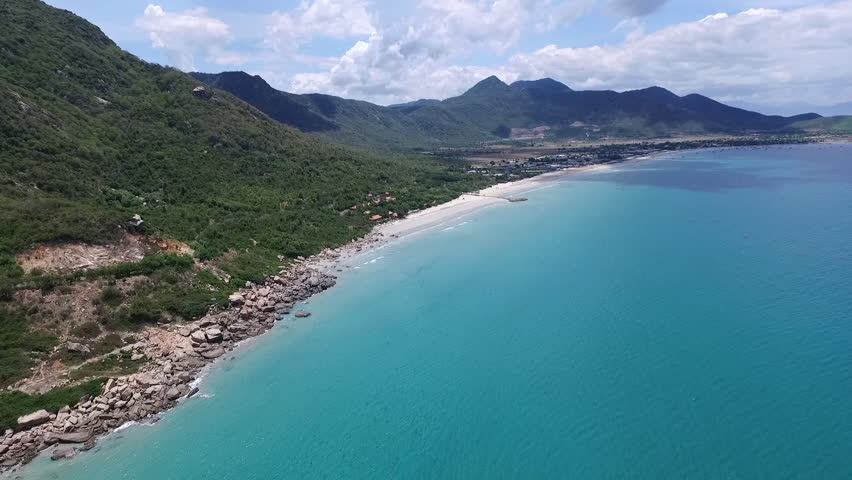 Aerial video, with drone, above the blue sea of Vietnam in a beautiful day. | Shutterstock HD Video #13726385
