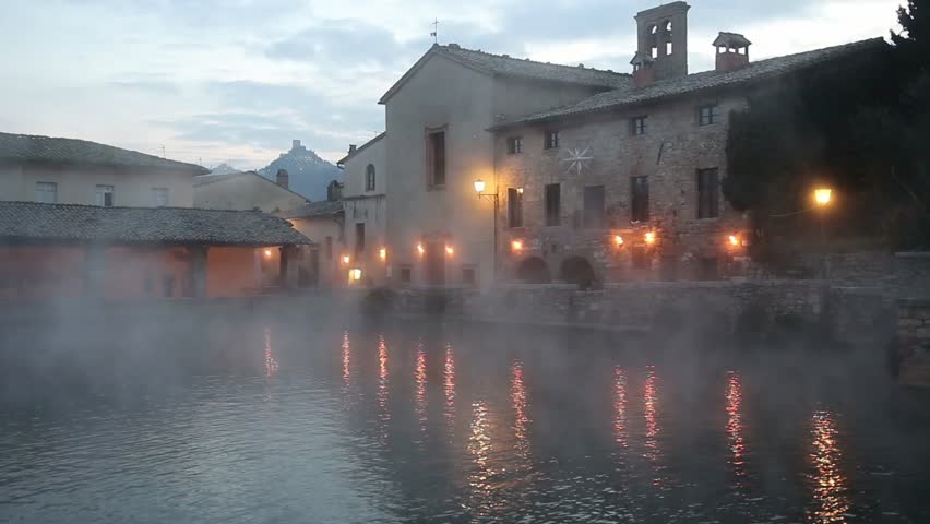 bagno vignoni spa bath spa town in the central square toscany italy hd stock video