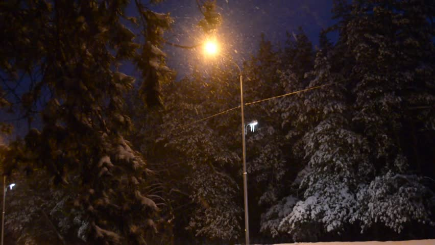 View of bench and shining lantern through snowing. Night shot. - HD stock footage clip