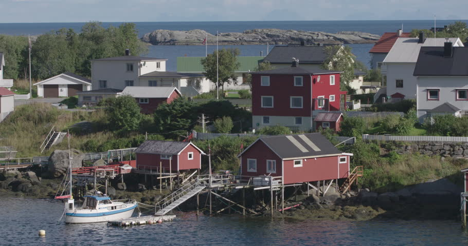 view of a fishing village in the lofoten islands, norway - HD stock footage clip