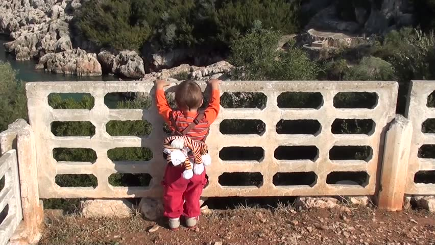 Child watching beautiful nature behind the fence