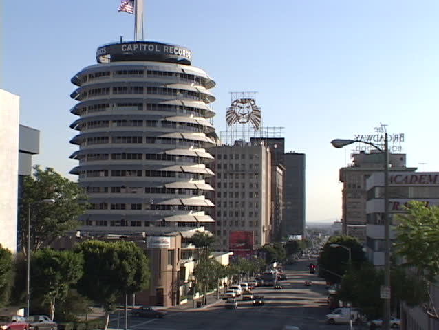 Capitol Records offices dominate the skyline in downtown Hollywood. - SD stock footage clip