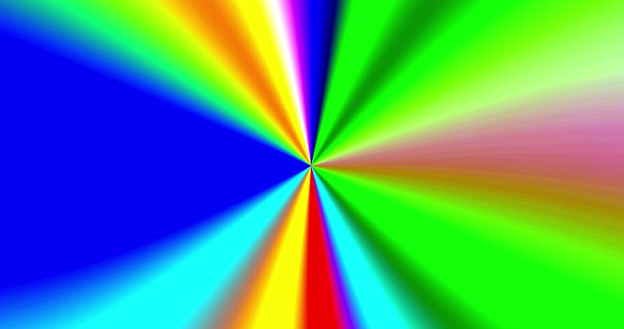 Moving colorful rays coming from the center with the central sequence being an interchanging loop - 4K stock video clip
