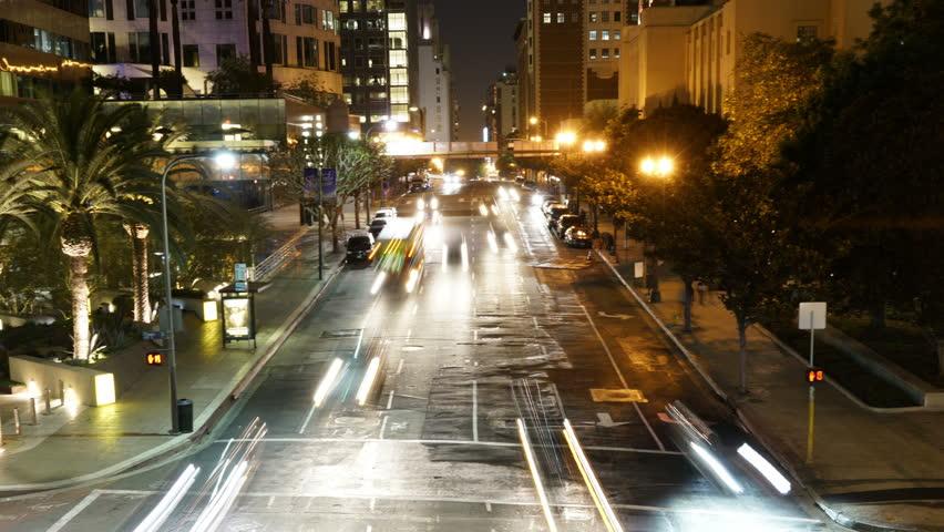 Night Cityscape Time Lapse 46 Traffic in LA Downtown   Shutterstock HD Video #13774265