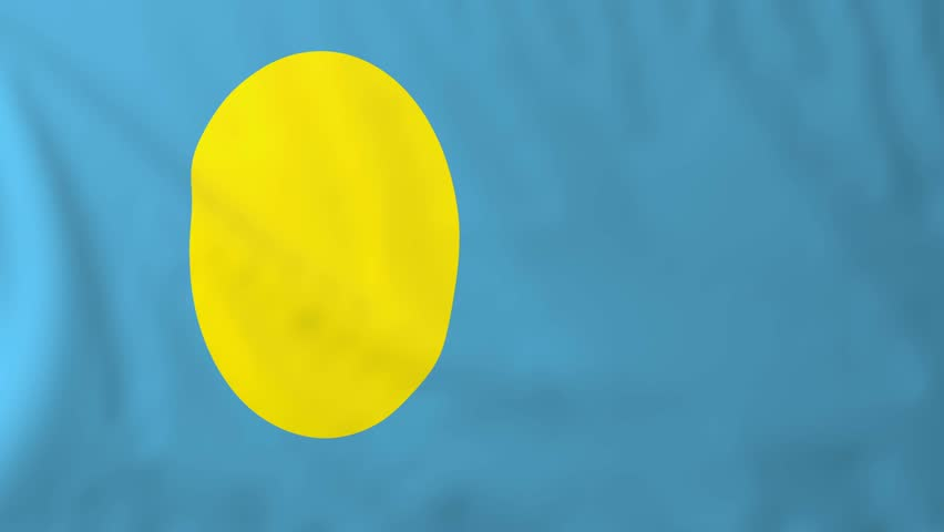 Flag of Palau, slow motion waving. Rendered using official design and colors. - 4K stock footage clip